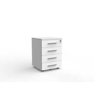 Cubit 4 Drawer Mobile Pedestal White