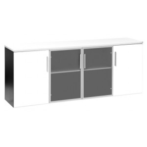Pulse 2 Glass 2 Melteca Doors Credenza 1800 White
