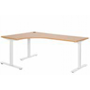 Pulse 1200 x 1800 Left Hand Workstation Steel Leg White/Beech
