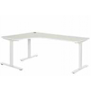 Pulse 1200 x 1800 Left Hand Workstation Steel Leg White/White